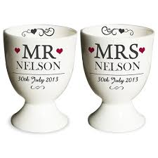 personalised mr mrs pair of egg cups