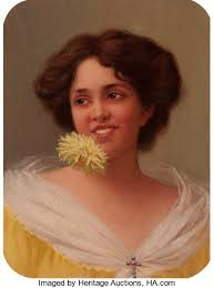 AMERICAN ARTIST (20th Century). Hilda Clark Holding a Flower ...