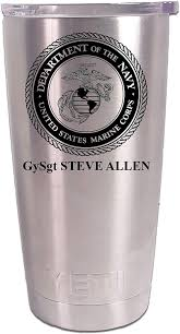 Amazon Com Us Marine Corps Tumbler Usmc Personalized Laser Engraved Yeti 20 Oz Includes Magslide Lid Tumblers Water Glasses