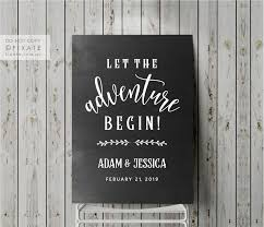 Let The Adventure Begin Decal Custom Welcome Sign Wedding Signage Welcome Sticker Vinyl Decal Wedding Engagement Blackboard Or Mirror Decal Wedding Guest Book Sign Guest Book Sign Monogram Guestbook