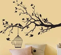 Tree Branch With A Bird Cage And Birds Vinyl Wall By Couturedecals Schilderen Ideeen Pyrografie Vogeltjes