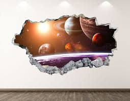 Space Wall Decal Galaxy Planets 3d Smashed Wall Art Sticker Etsy Space Wall Decals Sticker Wall Art Sticker Art