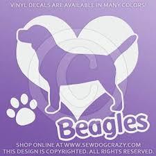 I Love Beagles Vinyl Decal Sew Dog Crazy
