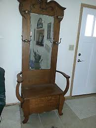 antique oak hall tree tall entry bench