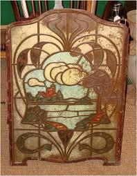 an extremely rare art nouveau fire screen