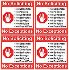 Amazon Com No Soliciting 4 Pack Of 5 X 5 Inch No Soliciting Decal Vinyl Self Adhesive Door Window Stickers Office Products