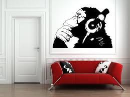 Banksy Dj Monkey Wall Art Vinyl Decal Sticker Stencil Home Etsy