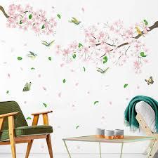 20149 Newest Hot Huge Pink Peach Tree Blossom Butterflies Wall Stickers Floral Art Decals Windows Wall Stickers Aliexpress