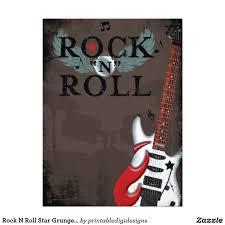 Rock N Roll Star Grunge Birthday Party Invitations Zazzle Com En
