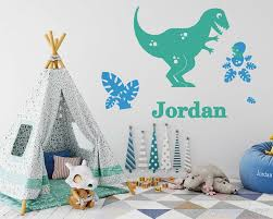 Boys Name Decal Personalized Dinosaur Wall Decal Tyrannosaurus Rex And Pterodactyl Customized Boy Wall Decal Nursery