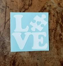 Autism Love Decal Autism Puzzle Piece Decal Autism Awareness Etsy