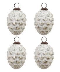 white pinecone mercury glass ornament