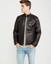 abercrombie brown leather jacket