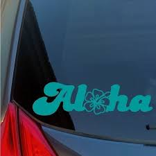 Aloha Hibiscus Flower Vinyl Sticker Decal Hawaii Hawaiian Lei Flower Oahu Maui Wish