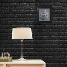 Pack Of 10 58 Sq Ft Black Peel And Stick 3d Foam Brick Wall Tile In 2020 Wall Treatments Brick Wall Paneling Wall Paneling