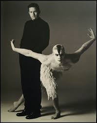 "Choreographer Matthew Bourne with dancer Adam Cooper, as photographed by  Richard Avedon for his Iconic ""Swan La… 