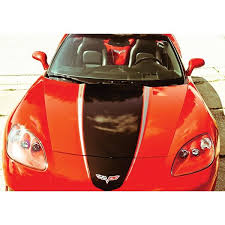 Corvette Hood Decal Package Convertible Black With Silveraccent Racing Stripe 2005 2013