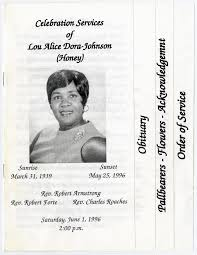 Funeral Program for Lou Alice Dora-Johnson, June 1, 1996] - The Portal to  Texas History