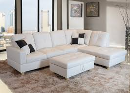 bevly white faux leather sectional sofa