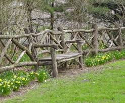 Rustic Twig Fence With Built In Bench Garden Fencing Rustic Fence Garden