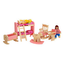 Dollhouse Miniature Kids Room Well Crafted Wood Furniture Set Pretend Toy