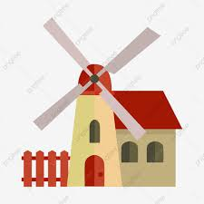 House Fence And Windmill Illustration Windmill House Fence Png And Vector With Transparent Background For Free Download