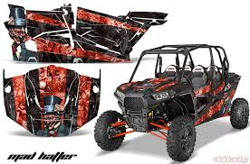 Amr Racing Full Custom Utv Graphics Decal Kit Wrap Mad Hatter Red Polaris Rzr Xp4 1000 13 18 Pol Rzr1000 4dr 13 18 Mh R