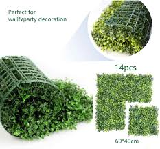Pack Of 14pcs Artificial Boxwood Panels Hedge Plant Grass Greenery Backdrop Outdoor Ivy Garden Fence Home Wall Decorations Artificial Plants Aliexpress