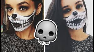 half skull face makeup tutorial