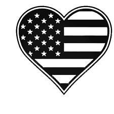 American Flag Heart Decal Sticker