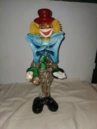 art glass clown holding ball italy