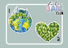 Earth Stickers Earth Laptop Stickers Water Bottle Stickers Etsy
