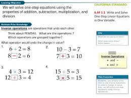solving one step addition and