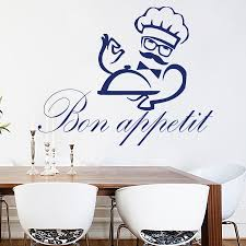 Restaurant Chef Wall Decal Quotes Bon Appetit Tray Pattern Wall Stickers Vinyl Kitchen Cafe Shop Windows Decals Art Mural Bon Appetit Wall Decals Quoteswall Sticker Aliexpress