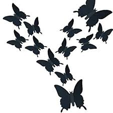 Amazon Com Heansun 24 Pcs Butterfly Wall Decals Butterflies Decor Stickers For Home Decorations Kids Room Bedroom Decor Black Baby