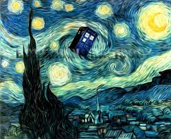 van gogh starry night tardis art print