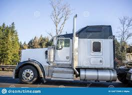 Powerful Big Rig White Classic American Semi Truck With Black Roof And Semi Trailer Running On The Road Stock Image Image Of Hauler Directions 134717549