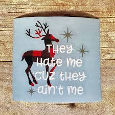 Amazon Com Funny Christmas Reindeer Vinyl Decal For Yeti Cup Tumbler Mug Coffee Cup Car Window Glass Block Or Laptop Diy Winter Holiday Sticker 3 25 Inches Handmade