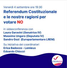 Il Referendum Costituzionale e le nostre ragioni per votare NO - Italia Viva