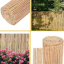 Fb Funkybuys 1 8m X 4m Bamboo Natural Slatted Fence Panel Peeled Reed Fencing Screening Roll Screen Garden Outdoor Privacy Amazon Co Uk Kitchen Home