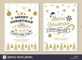 set of merry christmas and happy new year poster flyer