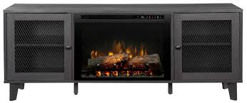 media console electric fireplace with logs