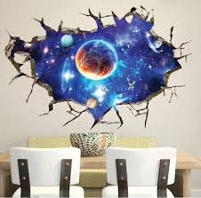 3d Galaxy Out Space Planet Boys Bedroom Art Vinyl Wall Stickers Decal Room Decor Wish