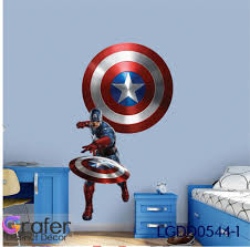 Marvel Hero Decal 3d Captain America Shield Decal Hero Decal Shield Decal Comics Hero Sticker Captain America Mural Children Room Decal