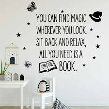 Quotes Wall Decals Read Books Vinyl Wall Sticker Reading Room Library Book Shop Kids Bedroom Interior Decor Fashion Mural M686 Wall Stickers Aliexpress
