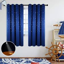Amazon Com Anjee Starry Sky Blackout Curtains With Cutout Stars For Kids Room Space Themed Window Curtains Drapes For Girls Boys Bedroom Living Room Nursery Royal Blue 42 X L63 Inches Home
