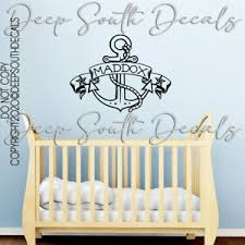 Anchor Nautical Nursery Baby Name Personalized Wall Decal Quote Vinyl Home Decor Ebay