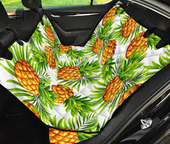 White Tropical Pineapple Pattern Print Pet Car Back Seat Cover Gearfrost