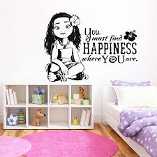 Moana Princess Silhouette Pvc Wall Decal Cartoon Movie Character Wall Stickers For Kids Rooms Children S Decoration Decals D701 Wall Stickers Aliexpress