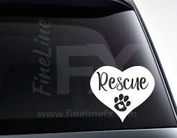 Rescue Animal Heart With Paw Vinyl Decal Sticker